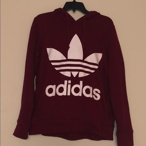 Burgundy Adidas treefoil hoodie size small worn 1x